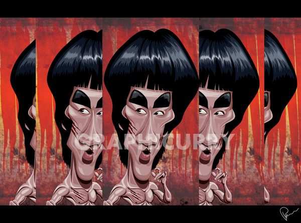 Bruce Lee tv movie caricature illustrated caricatures cartoon satrical humor