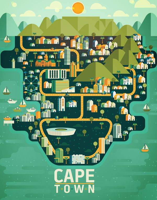 Cape Town Aldo Crusher illustration metropolis geometry