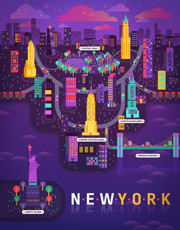 New York city illustration metropolis geometry