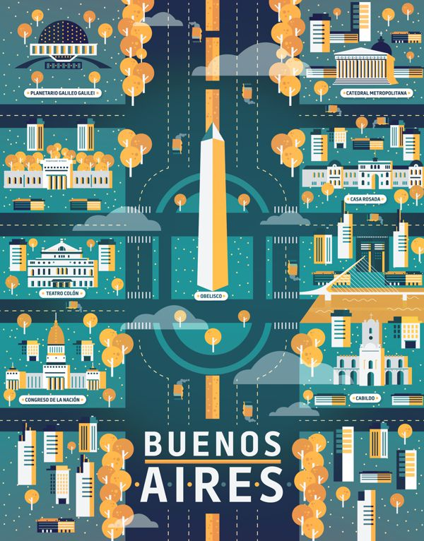 Buenos Aires Cosmopolis illustration metropolis geometry