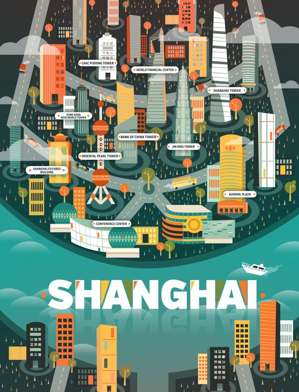 Shanghai Aldo Crusher illustration metropolis geometry