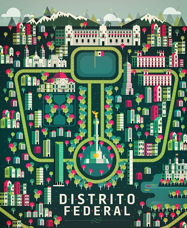 Mexico city illustration metropolis geometry