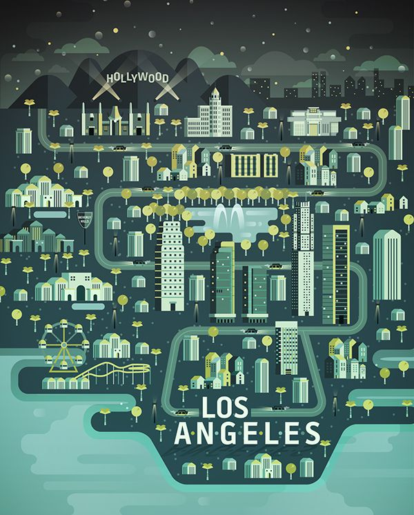 Los Angeles Aldo Crusher illustration metropolis geometry