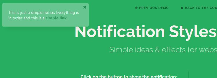 Notification Styles Inspiration - Simple ideas & effects for website notifications
