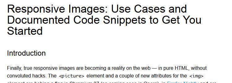 Responsive Images: Use Cases and Code Snippets to Get You Started by Andreas Bovens