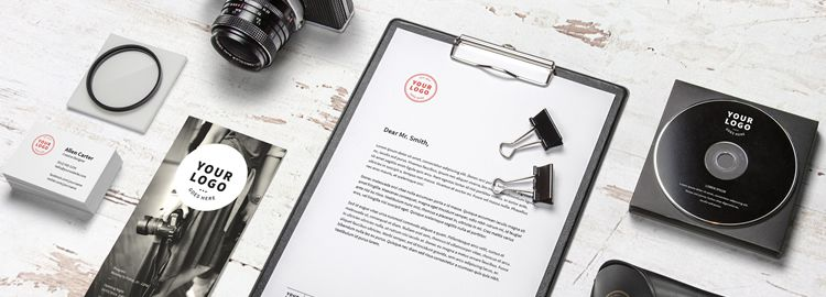 Photography related branding mockup template PSD