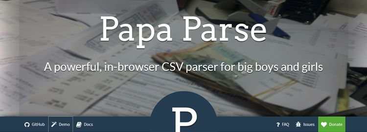 Papa Parse - A powerful CSV (delimited text) parser that gracefully handles large files and malformed input