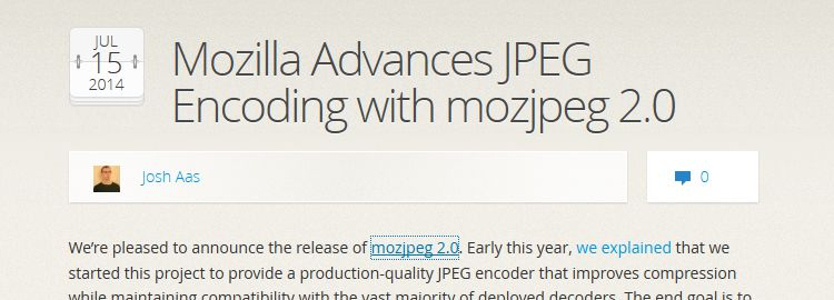 Mozilla Advances JPEG Encoding with mozjpeg 2.0