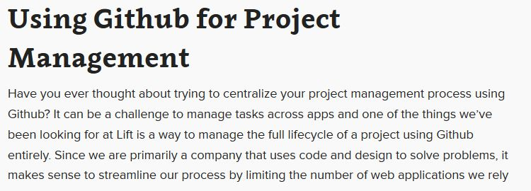 Using Github for project management