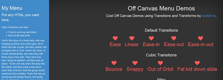 off canvas menu using CSS3 transitions transforms css tutorials techniques