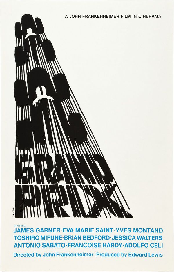 Grand Prix movie poster by Saul Bass