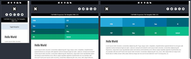 featured image Full Width Navigation With CSS demo Responsive Tiled Menu
