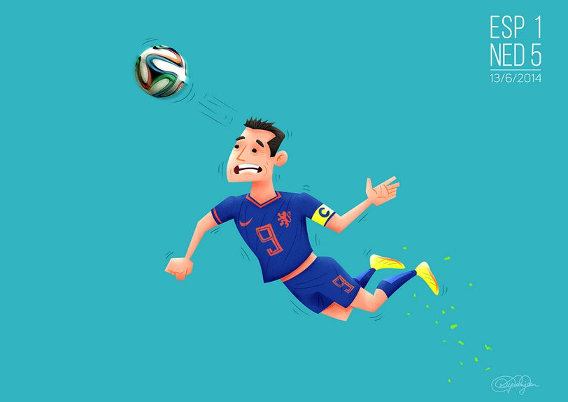 The Flying Dutchman robon van persie header diving spain netherlands 2014