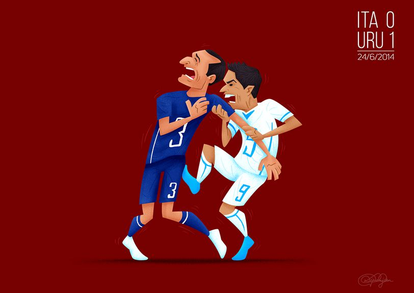 The Big Bite Uruguay's Luis Suarez has been accused of biting a player for the third time in his career after an incident with Giorgio Chiellini