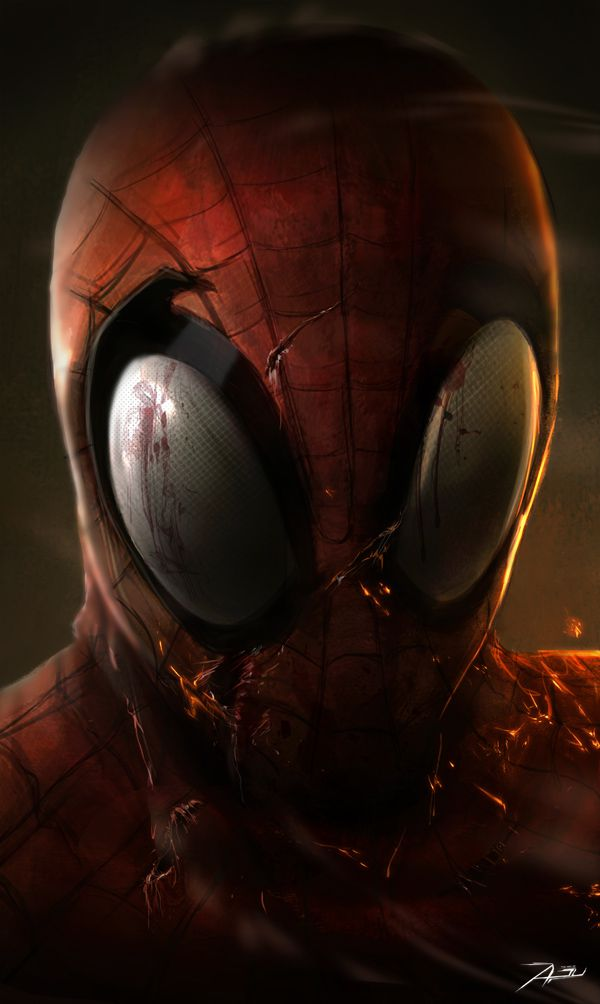 spiderman dark illustration haunted