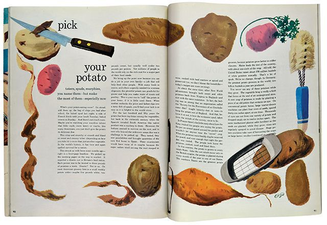 Pick Your Potato spread from Seventeen, illustrated by Pineles, 1948