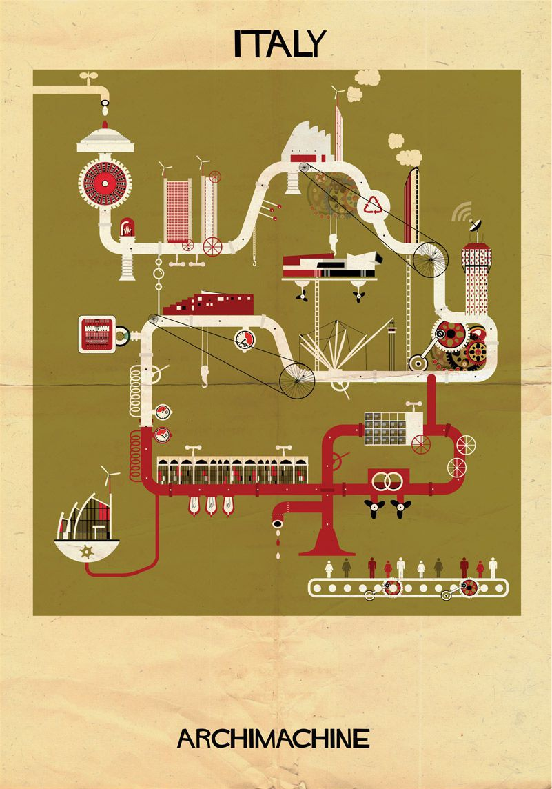 machine illustrations Italy