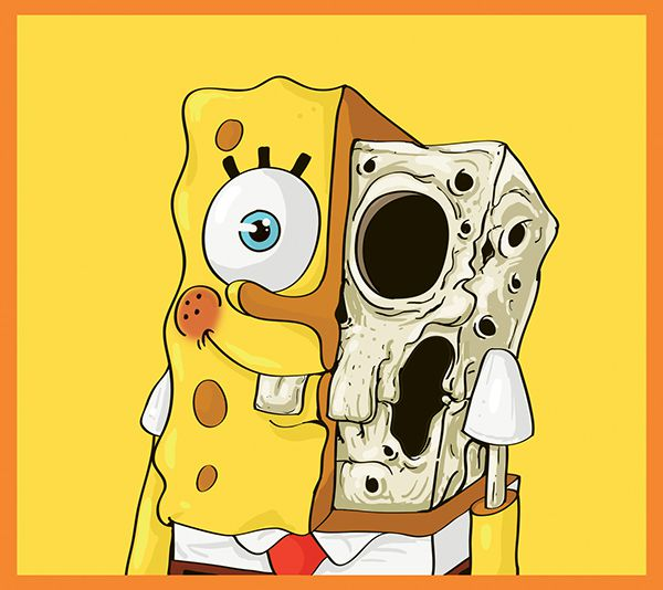 Cute Yellow dissected illustrations SpongeBob