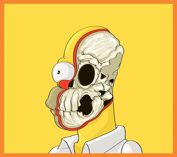 Cute Yellow dissected illustrations Homer Simpson