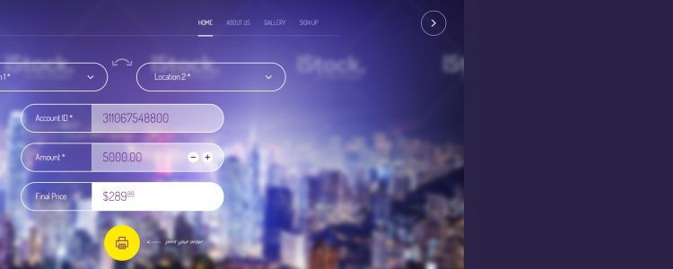 Website Header with Rollout Menu psd