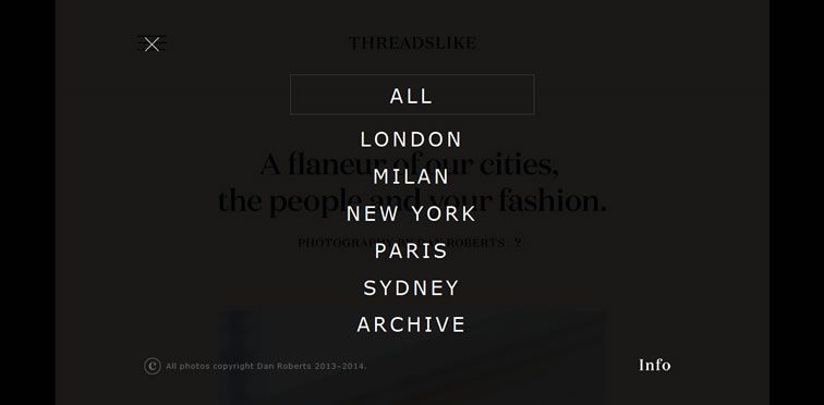 Threadslike fullscreen responsive menu example site