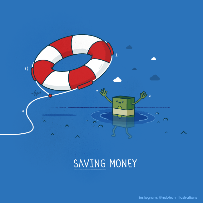 hilarious illustration series Saving Money