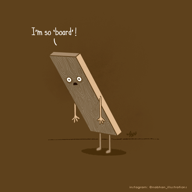 hilarious illustration series Bored Board