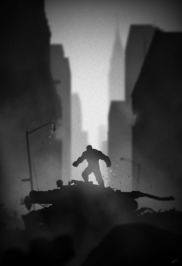 noir Superhero Series by Marko Manev Hulk