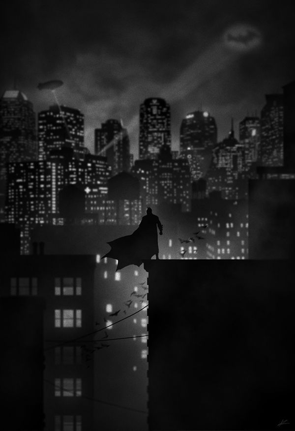 dark illustration photography Batman