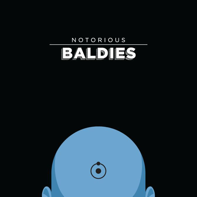 bald head illustration Notorious Baldies famous movie