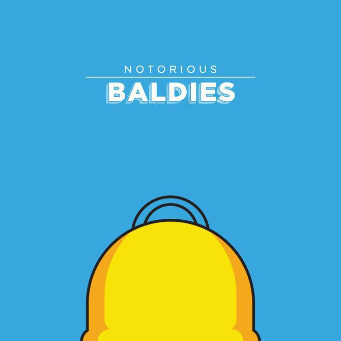 bald head illustration Notorious Baldies famous tv