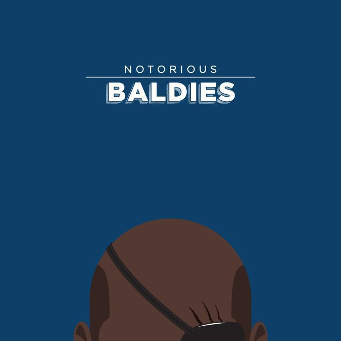 bald head illustration Notorious Baldies famous tv