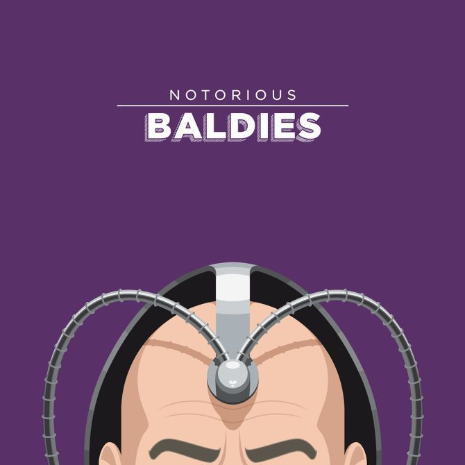 famous bald head illustration Notorious Baldies famous tv