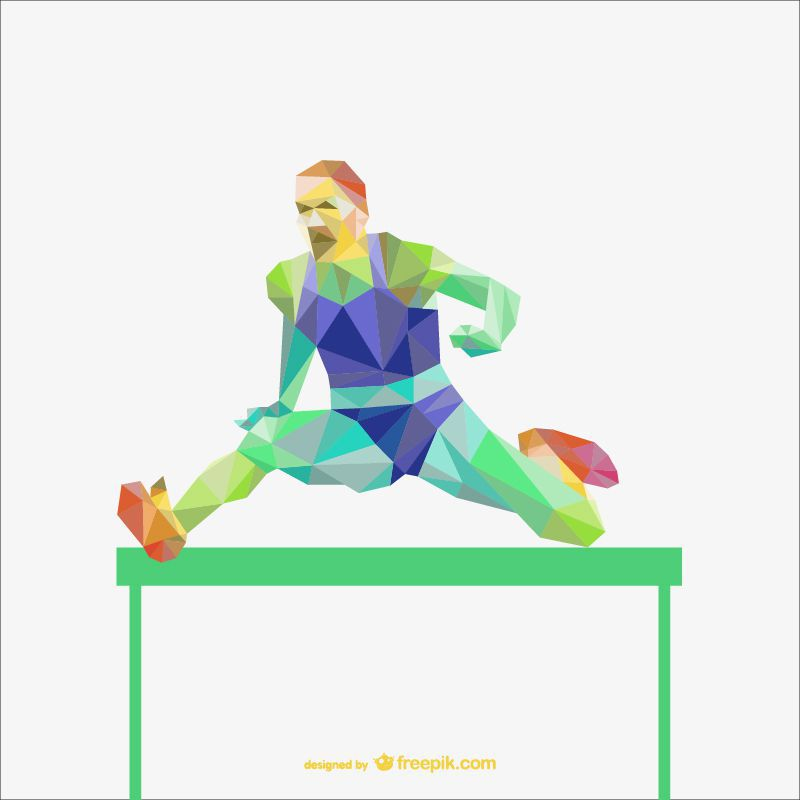 athletics sports polygon style template ai eps freebie