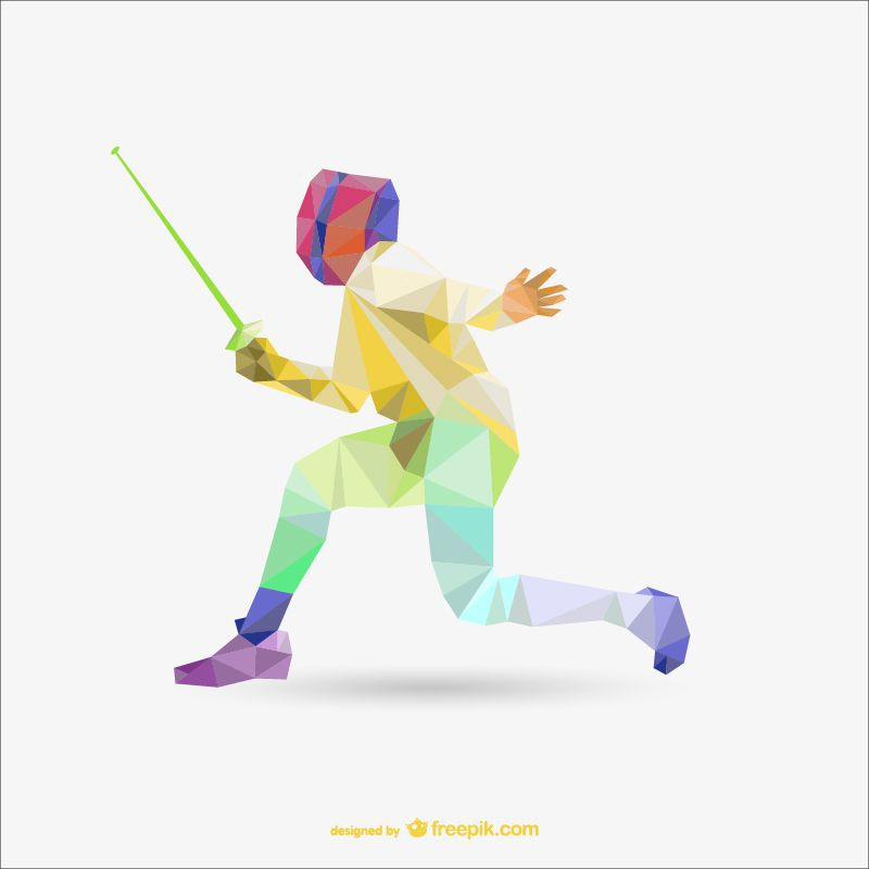 fencing sports low-poly free template ai eps