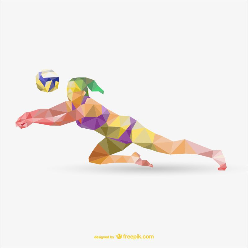 beach volleyball sports low-poly free template ai eps