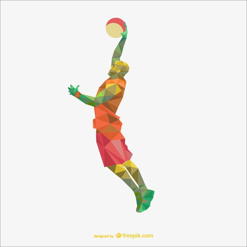 basketball sports low-poly free template ai eps