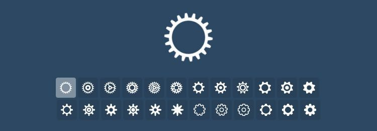 Tumblr-Style Loading Cogs animated with CSS and SVG icons