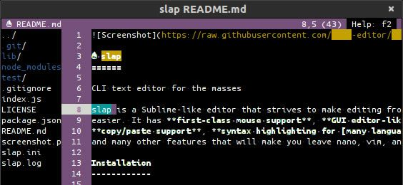 Slap - A Sublime-like terminal-based text editor that makes editing from the terminal easier