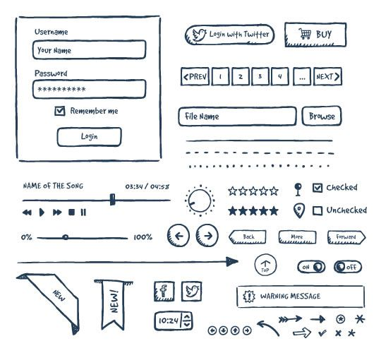 freebie Jolly Hand-Drawn UI kit EPS AI PDF