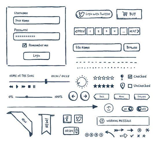 freebie Jolly Hand-Drawn UI kit EPS AI PDF