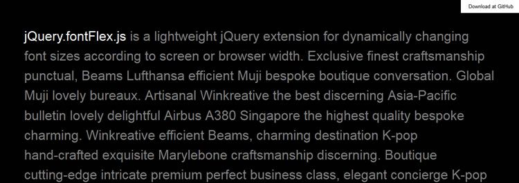 jQuery.fontFlex.js lightweight jQuery extension for dynamically changing font sizes