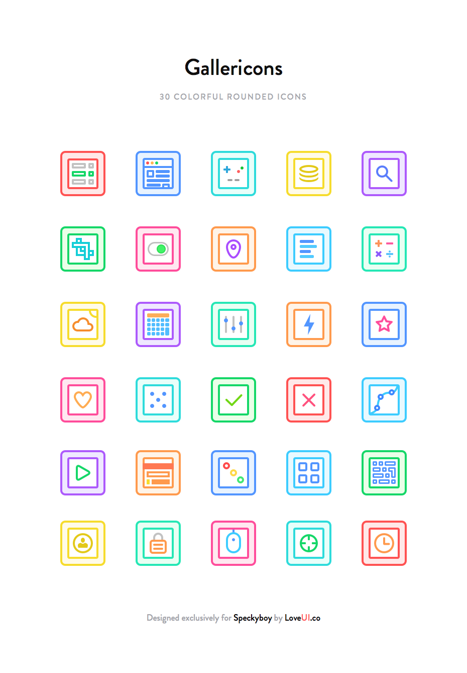 Gallericons Icon Set 30 flat rounded colourful Sketch PNG