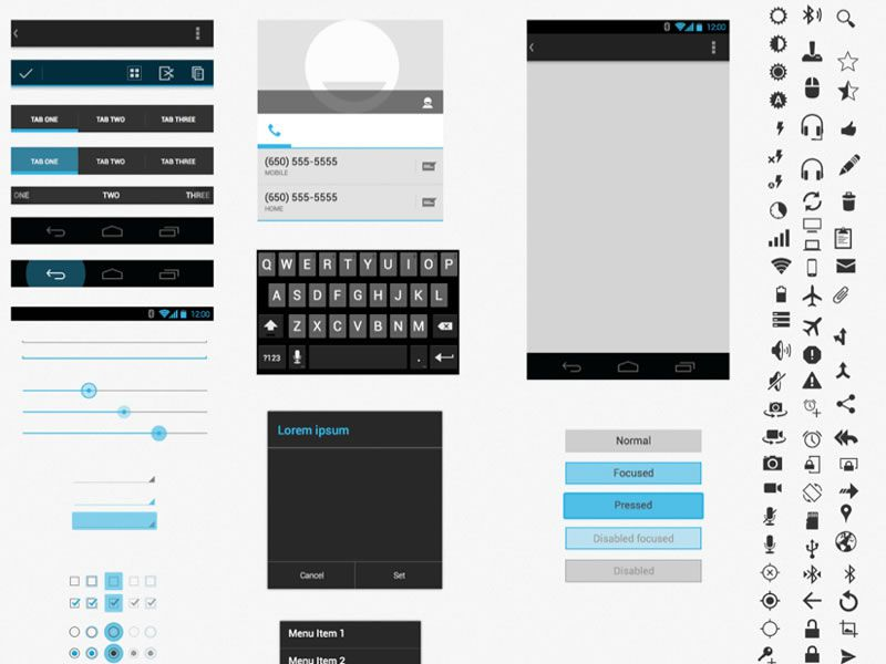 Free android gui wireframe templates 2014 for Powerpoint wireframe template for ui design