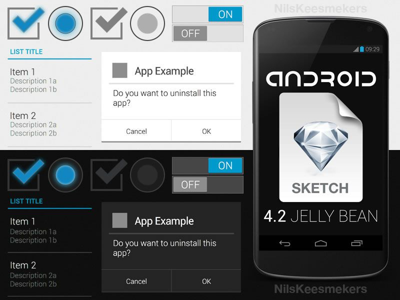 Android 4.2 GUI Template Sketch