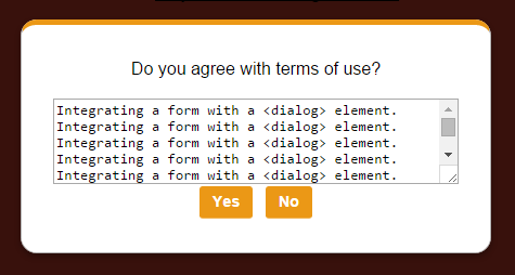 Implementing <dialog> with a Form
