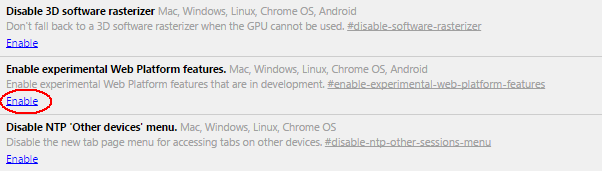 Enable experimental Web Platform features enabled