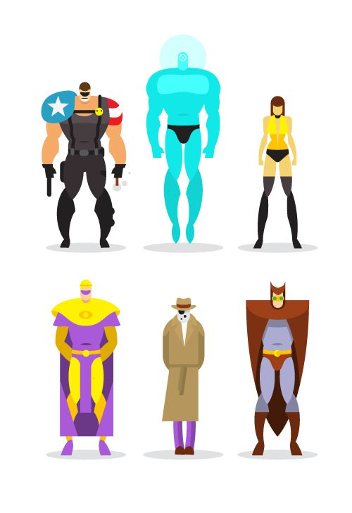 flat heroes illustration series posters