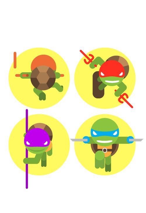 teenage mutant hero turtles flat illustration series posters