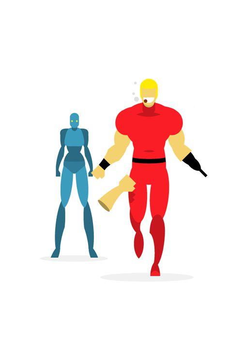 flat heroes illustration series posters